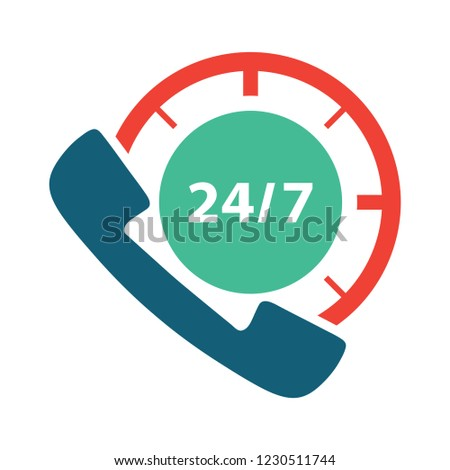 vector 24/7 customer service isolated icon - clock time illustration sign . support line sign symbol