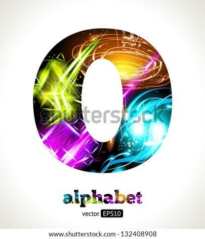 Vector Customizable Light Effect Alphabet. Design Abstract Letter O.