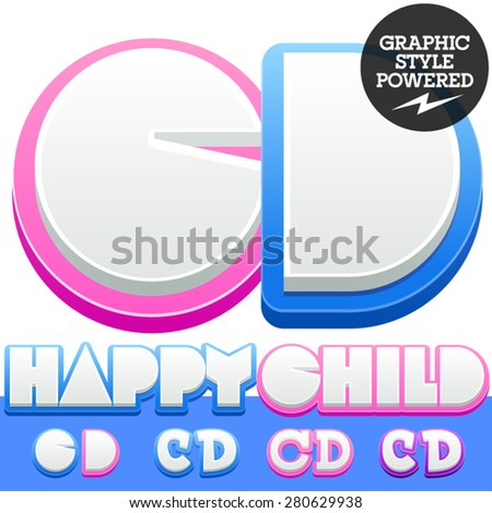 Vector cute alphabet for children. Nice white with blue  or pink letters and numbers for boys and girls. Letters C D - Shutterstock ID 280629938
