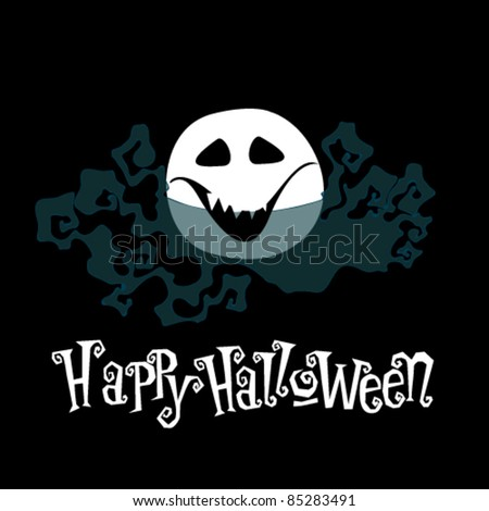 Vector cute and funny Halloween face illustration - stock vector