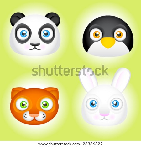 Vector cute animal faces. Panda, penguin, cat and bunny. - stock vector