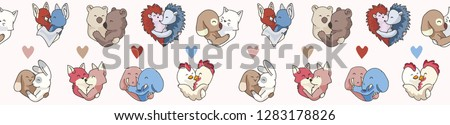 vector cute animal hug hearts