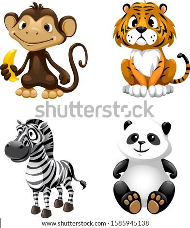 vector cute animals monkey, tiger, zebra, panda Stock photo ©