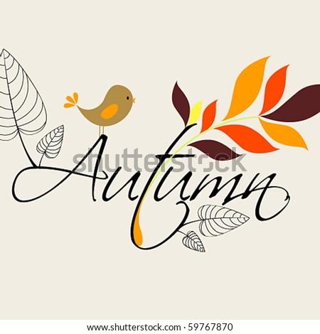 Vector cute autumn illustration