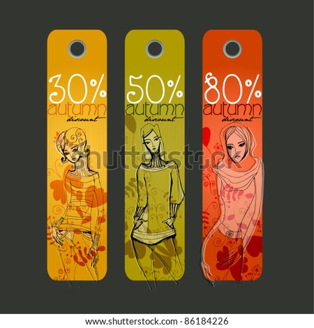 vector cute Autumn price tags with fashion girls
