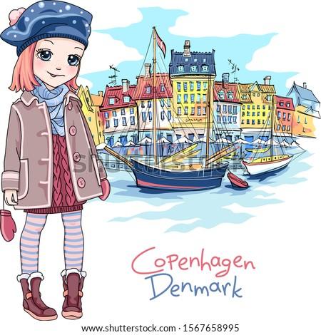 vector cute baby girl in winter