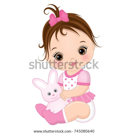 vector cute baby girl with toy