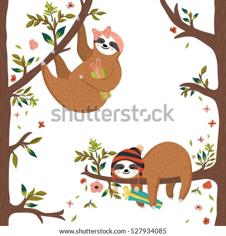 vector cute baby sloths funny