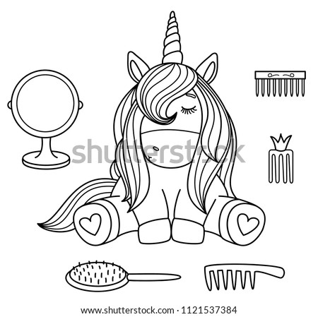 vector cute baby  unicorn black