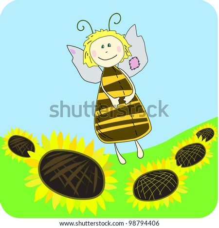 Vector cute bee with sunflower background