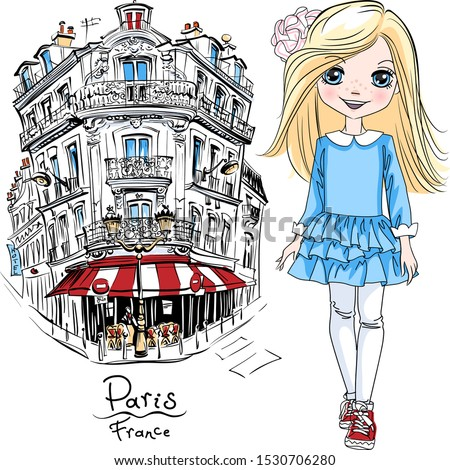 vector cute blond girl in blue