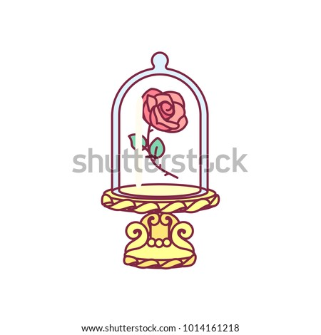 vector cute blooming rose under