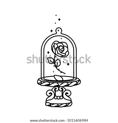 vector cute blooming rose under flask glass & stand. Eternal flower art. Royal luxury  fairy symbol. Beauty and Beast story. Vintage fairytale element. Black outline graphic isolated white background