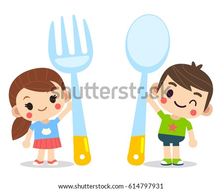 vector cute boy and girl  kids