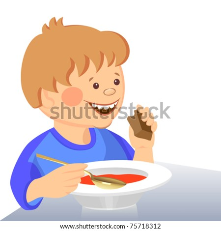 vector cute boy eats with a spoon from a bowl