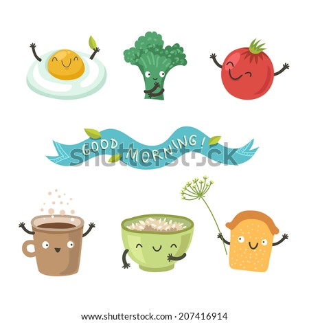 vector cute breakfast  cartoon