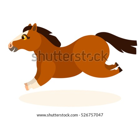 Vector cute brown running  happy horse