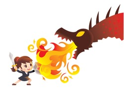 Vector cute business woman character raising sword and holding shield fighting with giant dragon, monster isolated on white background.