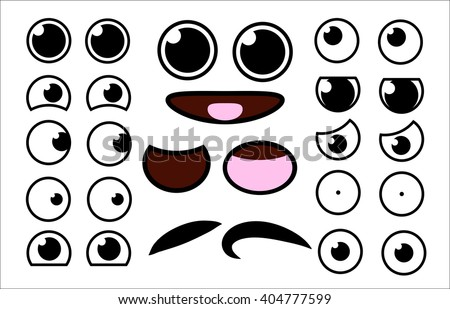 Vector cute cartoon eyes and mouths muzzle set. Collection of kids face elements for your design. Kawaii emotions with different expressions.