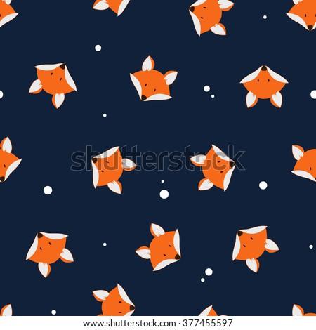 Vector cute cartoon fox seamless pattern. Orange fox's head on dark background. Good for print, textile, fabrics, wallpaper, decoration.