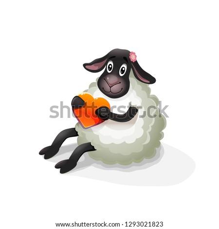 vector cute cartoon funny sheep