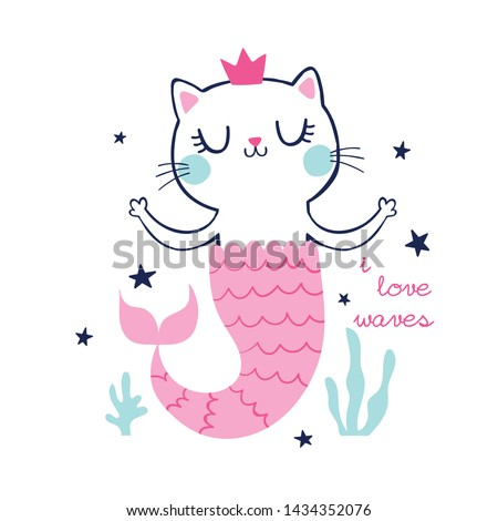 vector cute cat drawn as