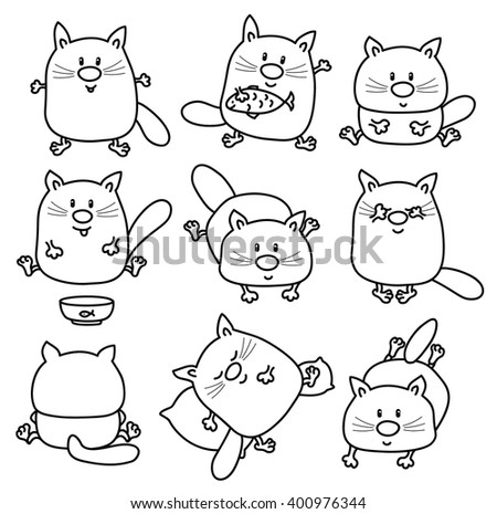 vector cute cats cartoons