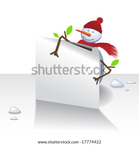 Vector - Cute christmas snowman holding a card, text can be inserted.