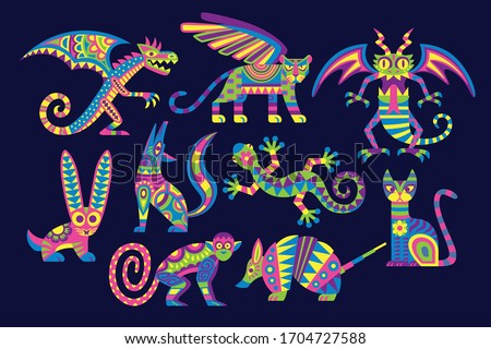 Vector Cute Colorful Cartoon Alebrije Set Isolated