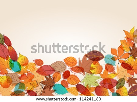 Vector cute, colorful, hand drawn style autumn leaves background illustration
