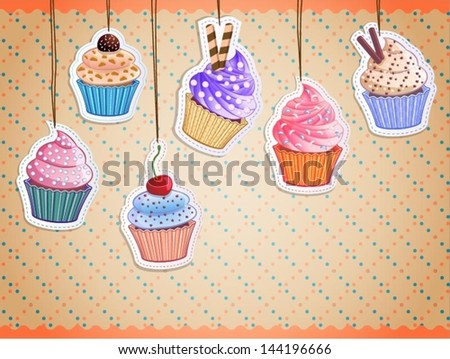 Stock Photo vector cute cupcake stickers