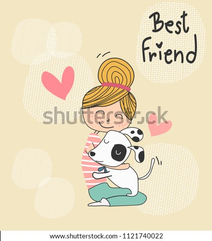 vector cute doodle a girl hugging a puppy dog,  best friend concept