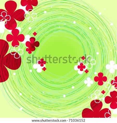 Vector cute doodle floral spring background illustration - stock ...