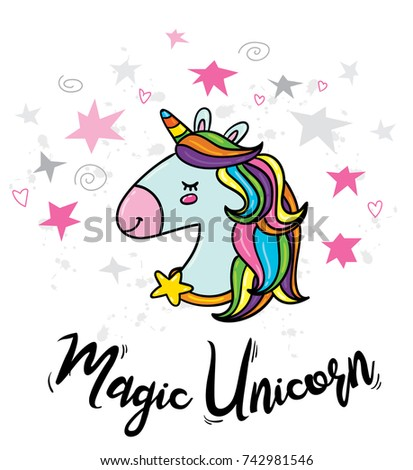 Vector cute doodle illustration of magic unicorn with rainbow hairs and stars around. Card print, poster or t-shirt print hipster trendy design concept template #742981546