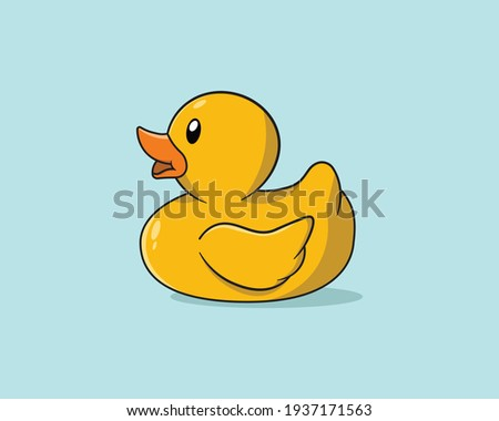 vector cute duck cartoon illustration, flat illustration mascot duck icon Stock photo ©