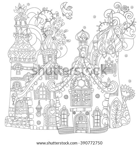 vector cute fairy tale town