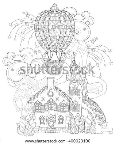vector cute fairy tale town