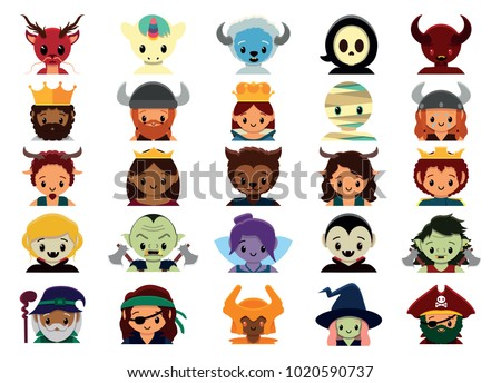 Vector cute fantasy halloween set  colorful isolated