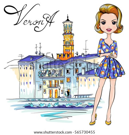 vector cute fashionale girl in