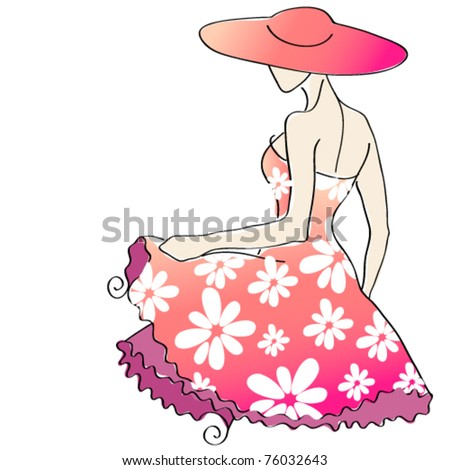 Vector cute floral girl with hat - summer illustration