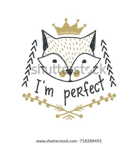 Vector cute fox. Cartoon style. Tribal animals portrait. Doodle illustration.  #718288492