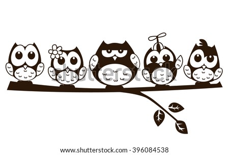 stock-vector-vector-cute-funny-group-of-owl-in-cartoon-illustration-sitting-above-a-branch