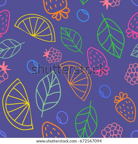 vector cute hand drawing fruits