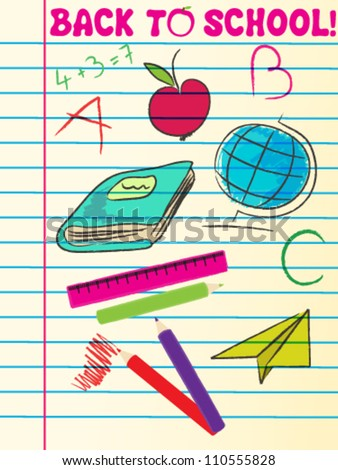 Vector cute hand drawn sketch style back to school illustration