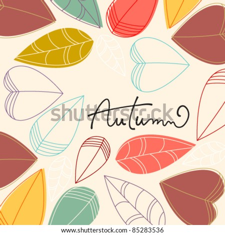 Vector cute hand drawn style autumn leaves illustration
