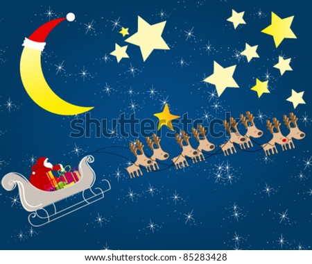 Vector cute hand drawn style Christmas greeting card with Santa's sleigh flying in front of the Moon