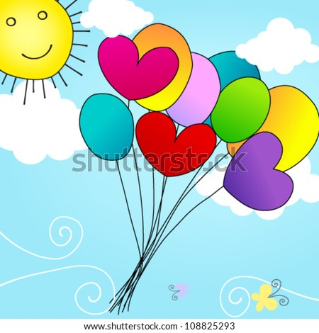 Vector cute, hand drawn style heartshaped balloons flying in the sky