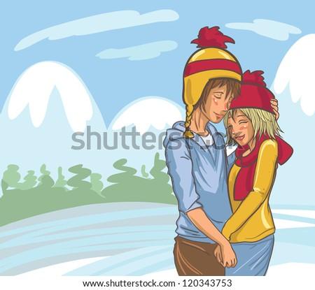 Vector Cute Hand Drawn Winter Couple