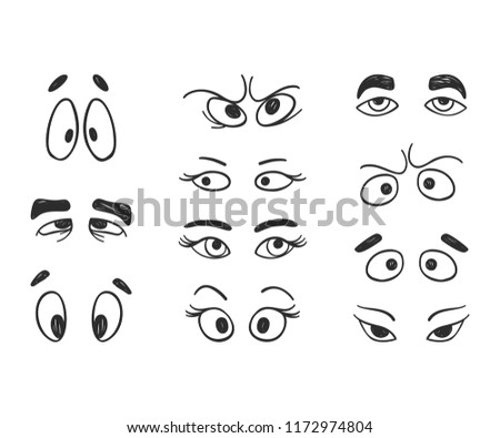 Vector cute happy faces. Doodle cartoon emotion, smile #1172974804
