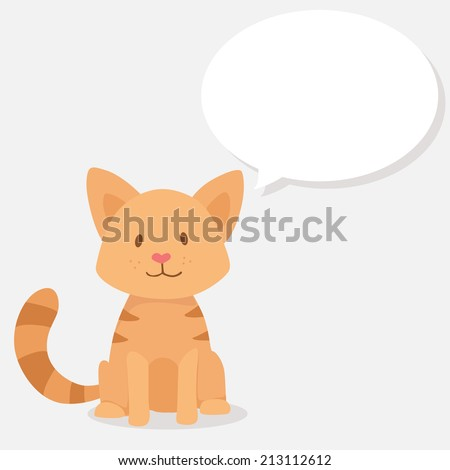 vector cute happy red cat with